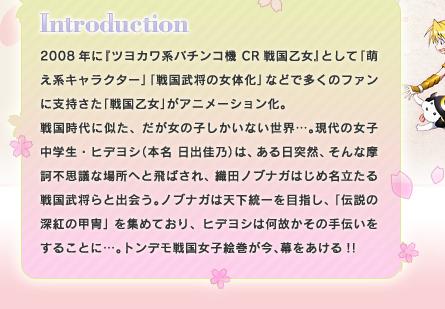 イントロダクション 2008年に『ツヨカワ系パチンコ機CR戦国乙女』として「萌え系キャラクター」「戦国武将の女体化」などで多くのファンに支持さた「戦国乙女」がアニメーション化。戦国時代に似た、だが女の子しかいない世界…。現代の女子中学生・ヒデヨシ(本名日出佳乃)は、ある日突然、そんな摩訶不思議な場所へと飛ばされ、織田ノブナガはじめ名立たる戦国武将らと出会う。ノブナガは天下統一を目指し、「伝説の深紅の甲冑」を集めており、ヒデヨシは何故かその手伝いをすることに…。トンデモ戦国女子絵巻が今、幕をあける!!
