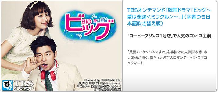 TBSオンデマンド「韓国ドラマ『ビッグ〜愛は奇跡<ミラクル>〜』 吹替版 (コン・ユ、イ・ミンジョン) 」